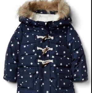Gap Toddler/Baby Puffer Coat Star Pattern Fur